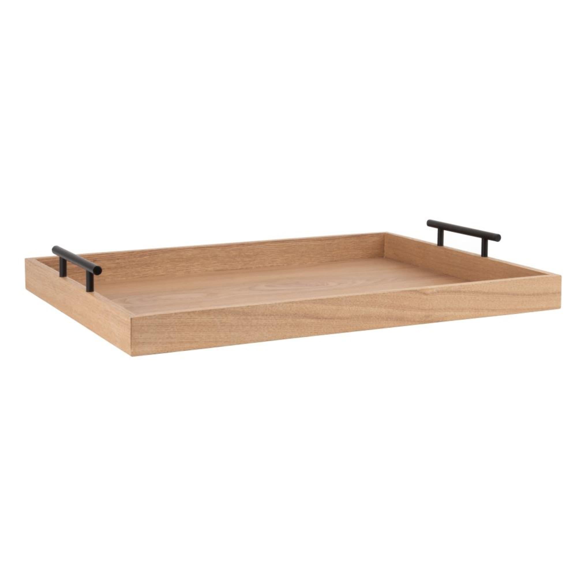 Bandeja de madera de nogal con asas metálicas
