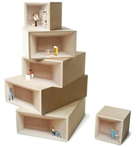 Cajas de almacenamiento con escenas de la vida doméstica