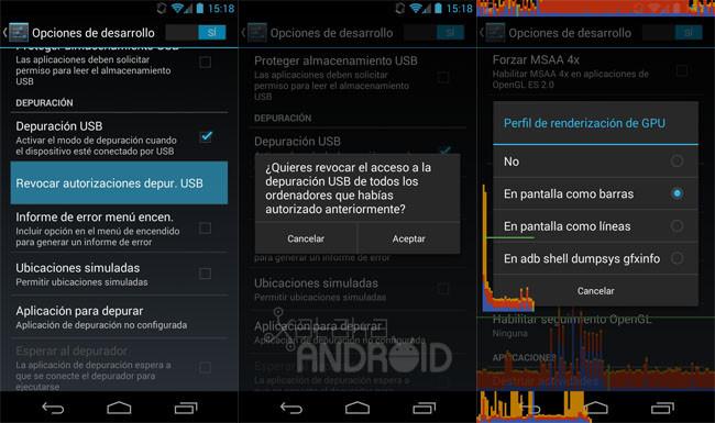 Opciones de desarrollo en Android 4.3 (Jelly Bean)