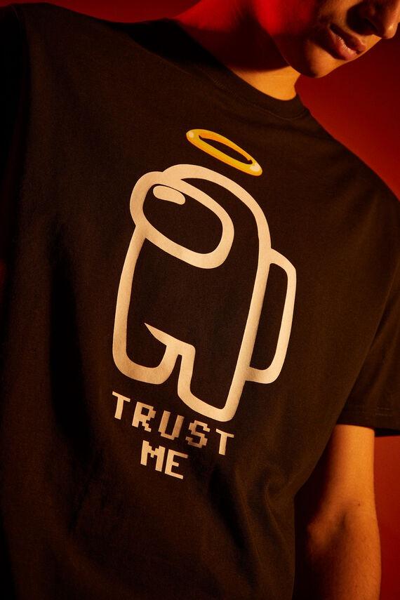 Camiseta negra en algodón con estampado de Among Us