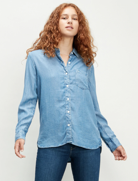 Camisa vaquera con manga larga de mujer