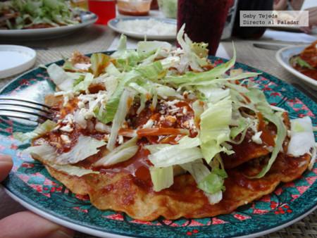 Receta de Enchiladas de familia con carne molida y papas en salsa de chiles secos