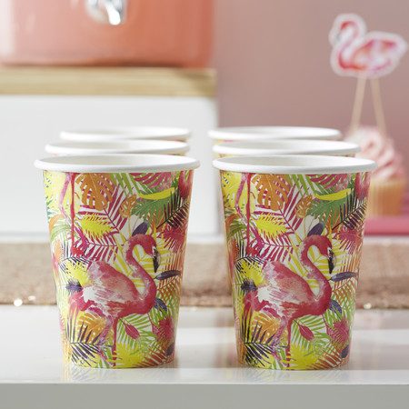 Tropical Paper Cups Flamingo Fun