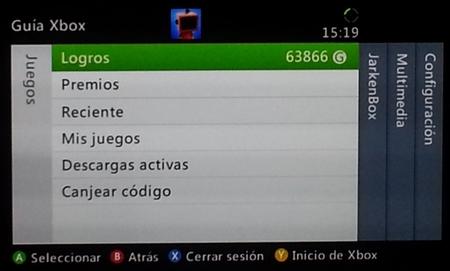 Menú Guía Xbox Live