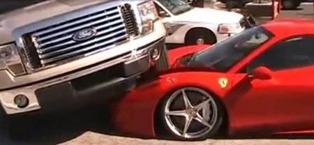Dolorpasion™: Ferrari 458 Italia aplastado por un Ford F-150