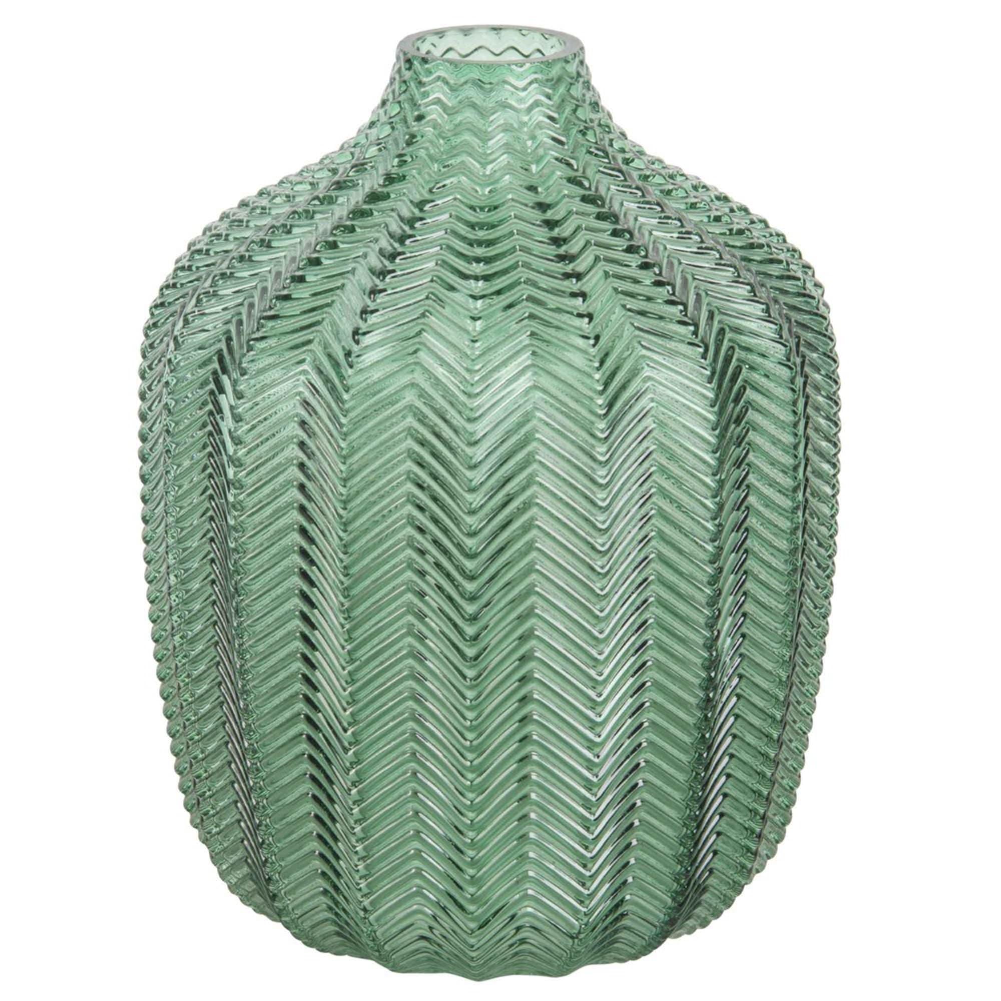 Jarrón de cristal tintado verde