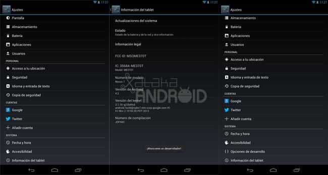 Activar las opciones de desarrollo en Android 4.2