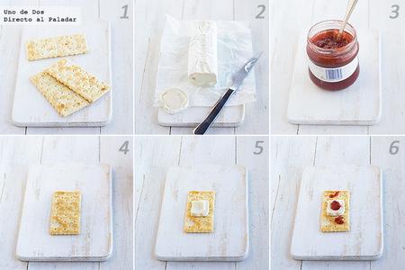 Tiritas de queso y mermelada. Receta para halloween paso a paso