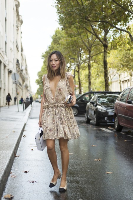 Aimee Song Of Style Chloe Gold Dress Chanel Two Tone Slingbacks