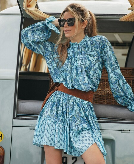 Vestido Corto Cashmere Azul