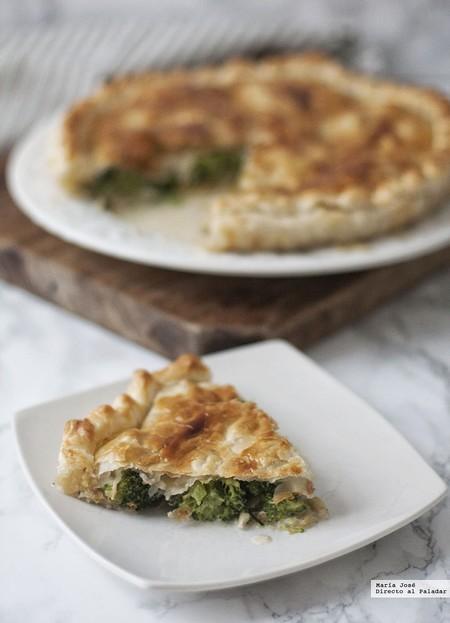Tarta salada de brócoli y gorgonzola. Receta para una cena especial