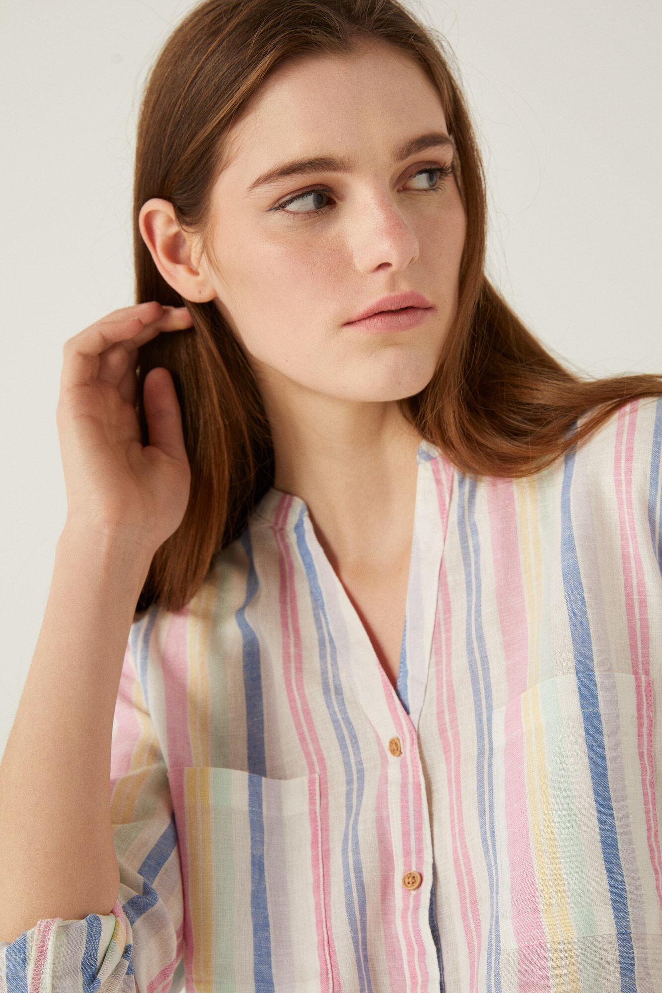 Camisa de algodón orgánico con rayas de colores