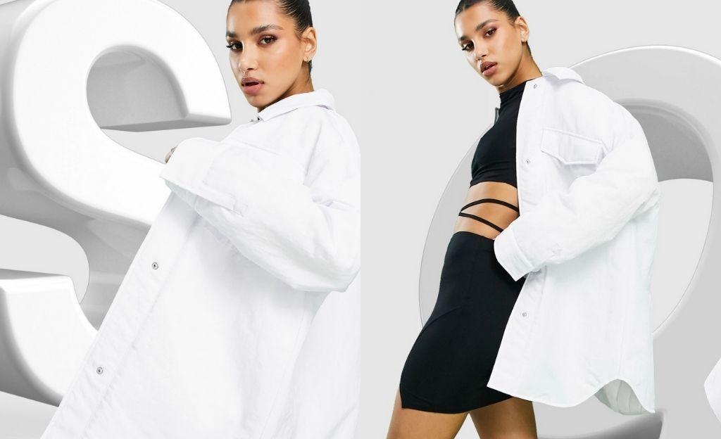 Sobrecamisa blanca de nylon técnico con forro acolchado de ASOS DESIGN