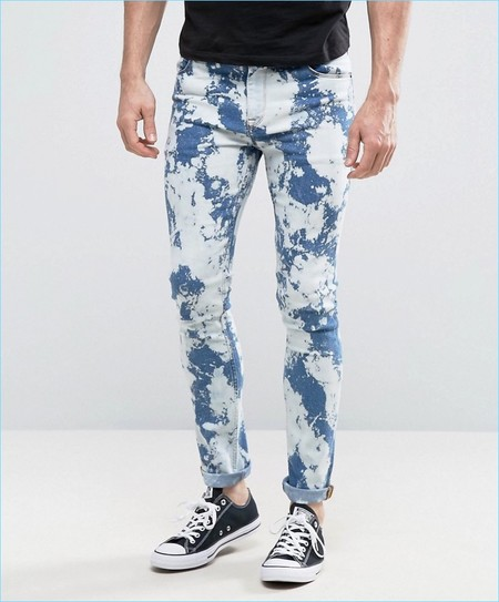 Asos Super Skinny Jeans With Bleach Spots Mid Blue 53