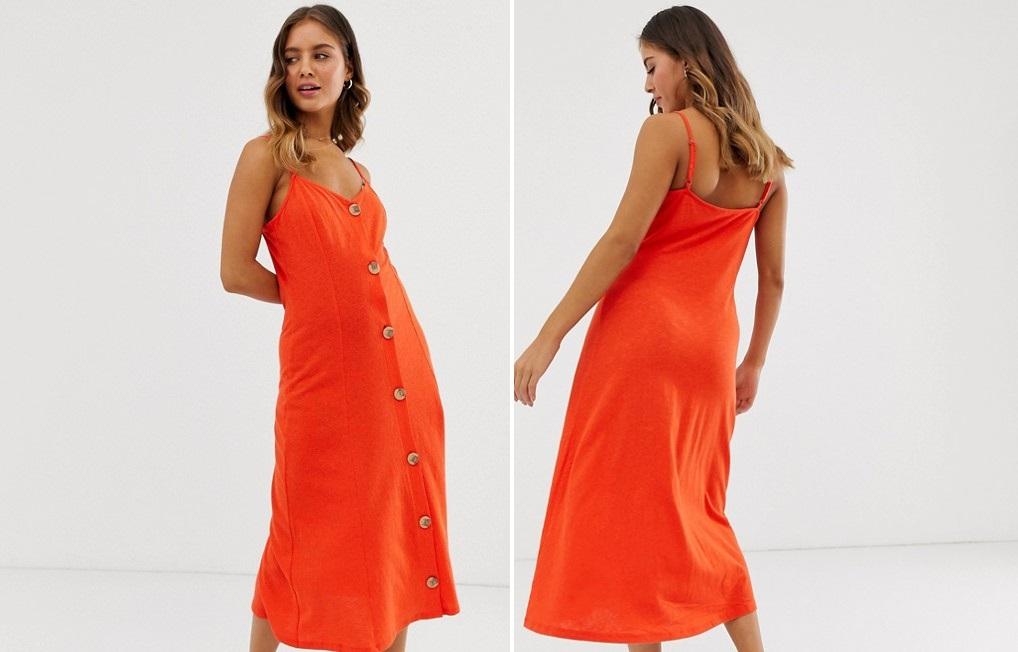 Vestido midi abotonado en naranja neón