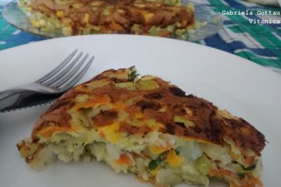 Tortilla de verduras. Receta saludable