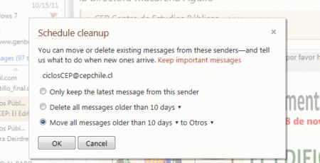 Limpieza programada Hotmail