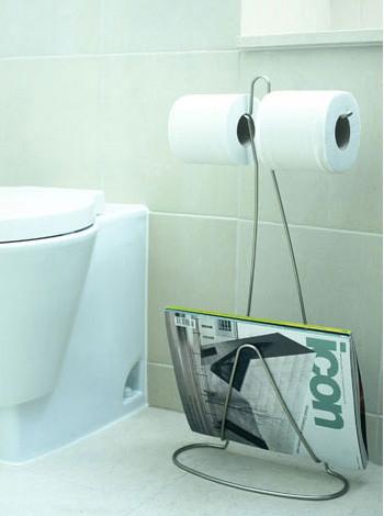 Porta papel higiénico y revistero para el baño