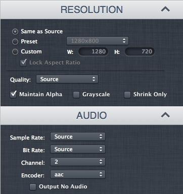 Opciones de resolución y de audio