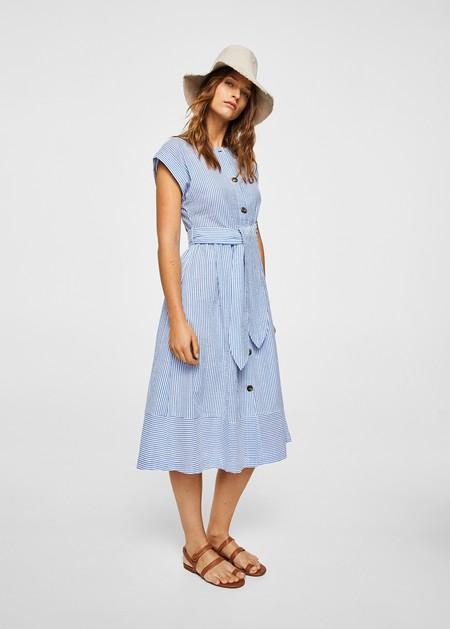 Vestido azul lunares mango