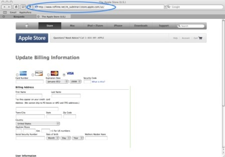 Intento de phishing a los usuarios de MobileMe
