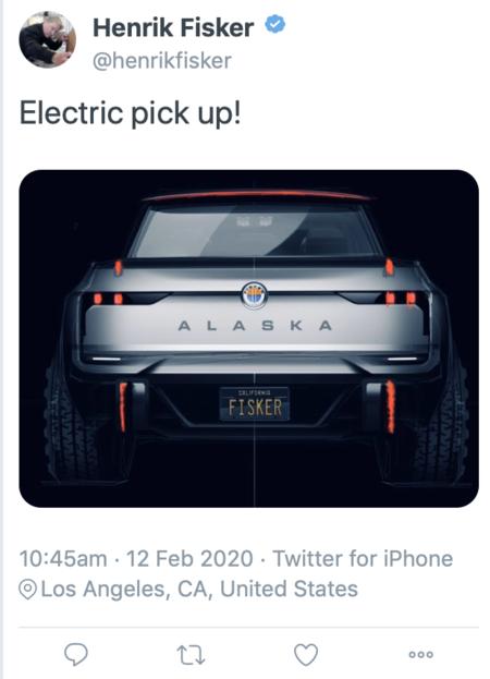 Fisker Alaska Pick Up Tweet
