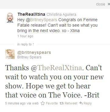¿Britney Spears y Christina Aguilera enfrentadas? Pues bien que se camelan por Twitter...