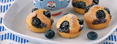 Mini muffins de arándanos y limón. Receta para un picoteo dulce