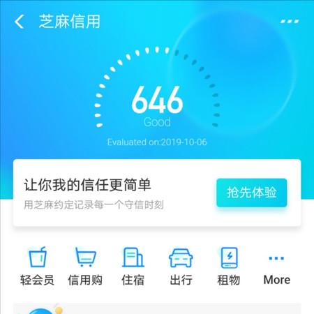 Aspecto del sistema de puntos Zhima Credit de Alipay.