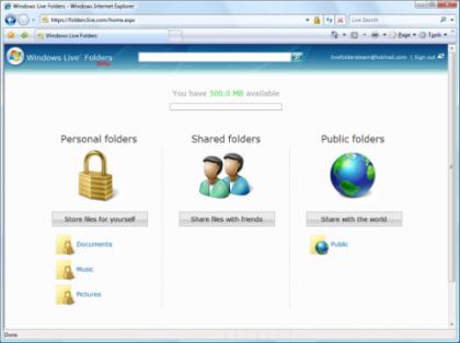 Windows Live SkyDrive, anteriormente conocido como Live Folders