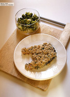 Salmón al horno con costra de mostaza y perejil. Receta de Lorraine Pascale