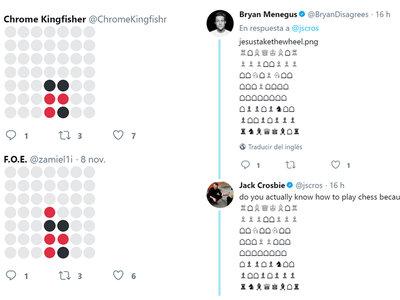A la gente le sobra tanto espacio en Twitter que se ha puesto a jugar al ajedrez y al cuatro en raya