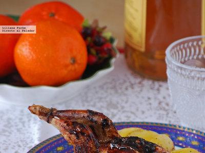 Codornices asadas con glaseado de naranja, sirope de arce y whisky. Receta de Navidad