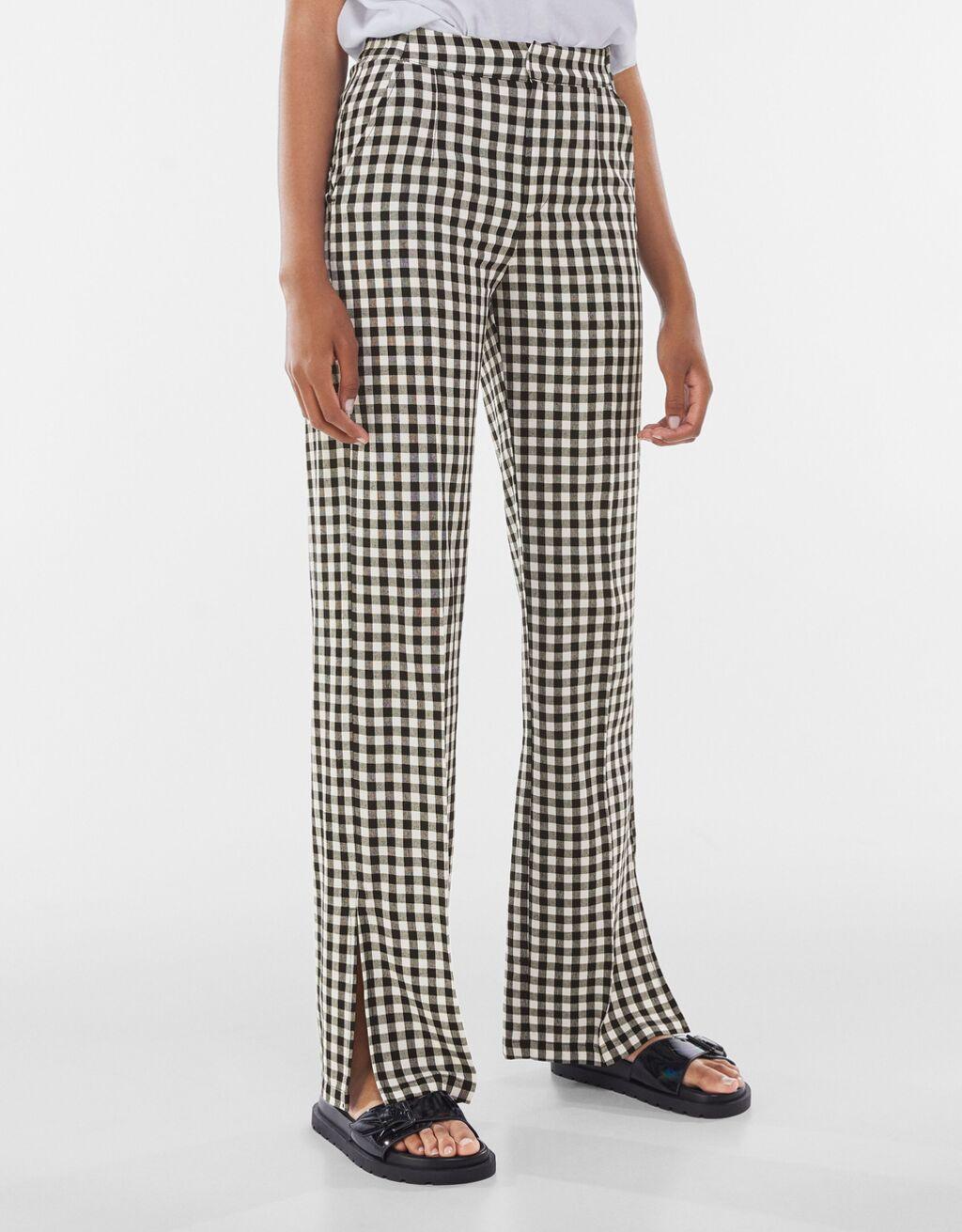 Pantalón straight con lino vichy