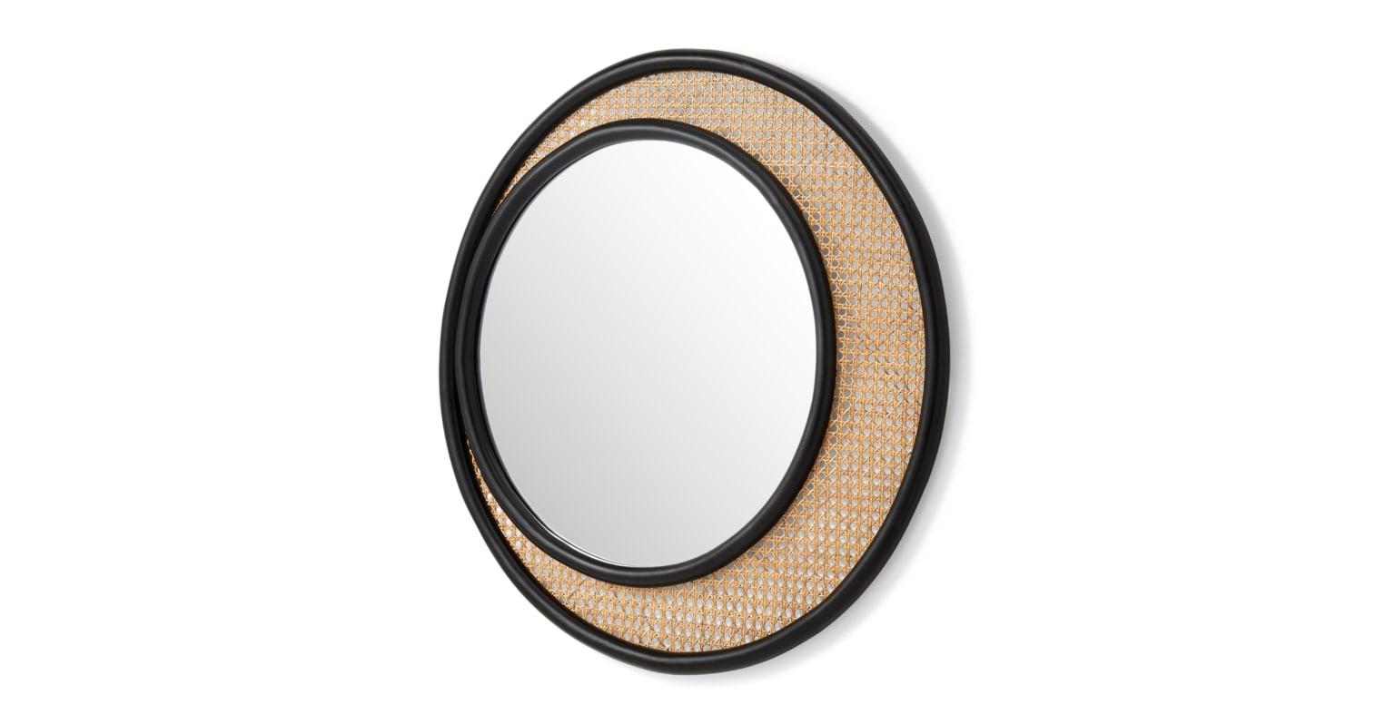 Espejo de pared redondo de ratán Coretta, 80 cm, natural y negro