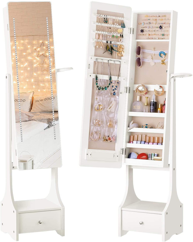 LUXFURNI - Armario con luz led para joyas, espejo de pie de cuerpo entero para maquillaje, con cerradura, organizador grande para almacenamiento de maquillaje, con cajón, color blanco