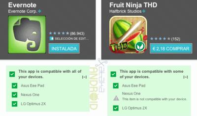 Android Market ahora muestra la compatibilidad entre Apps y tus dispositivos en su versión web