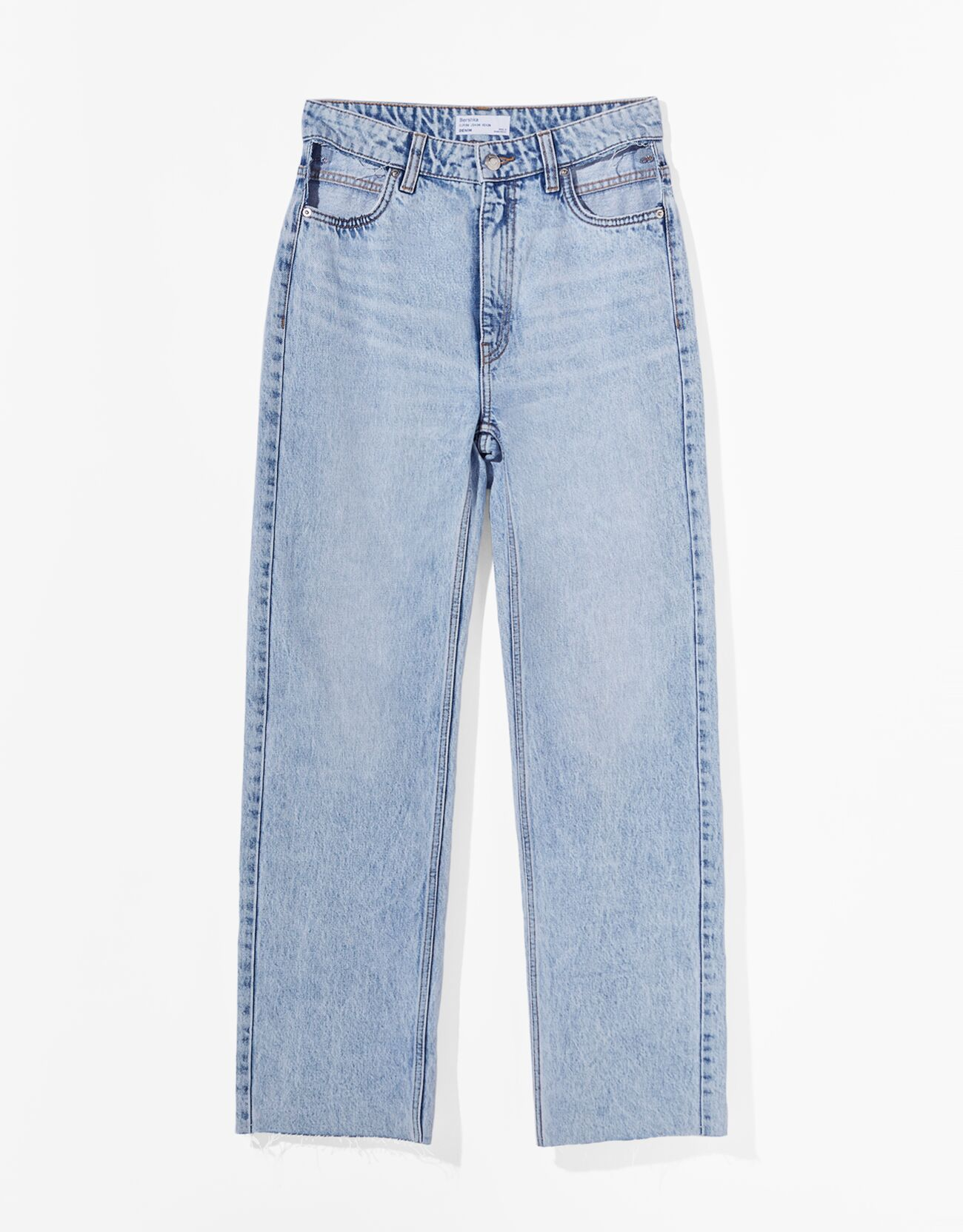 Jeans straight high waist cut out.