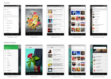 Feedly Material Design Exploration