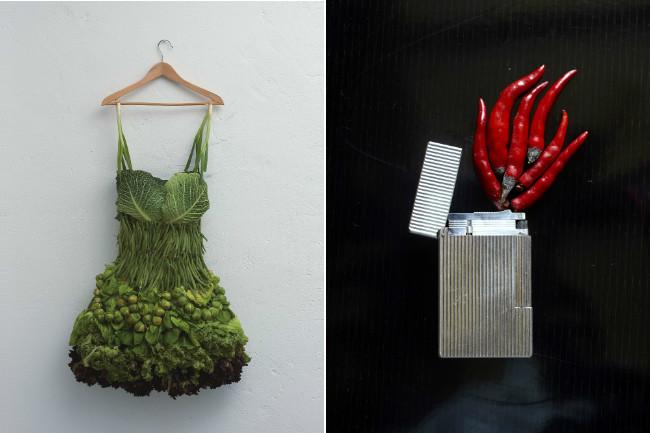 Creaciones surrealistas mezclando objetos con comida