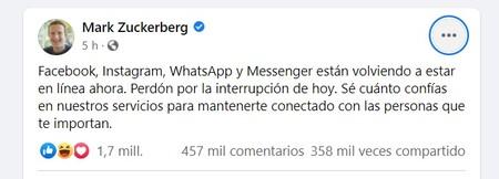 Zuck Disculpas Caida Facebook