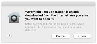 Ejemplo de mensaje de una app notariada bajada de internet