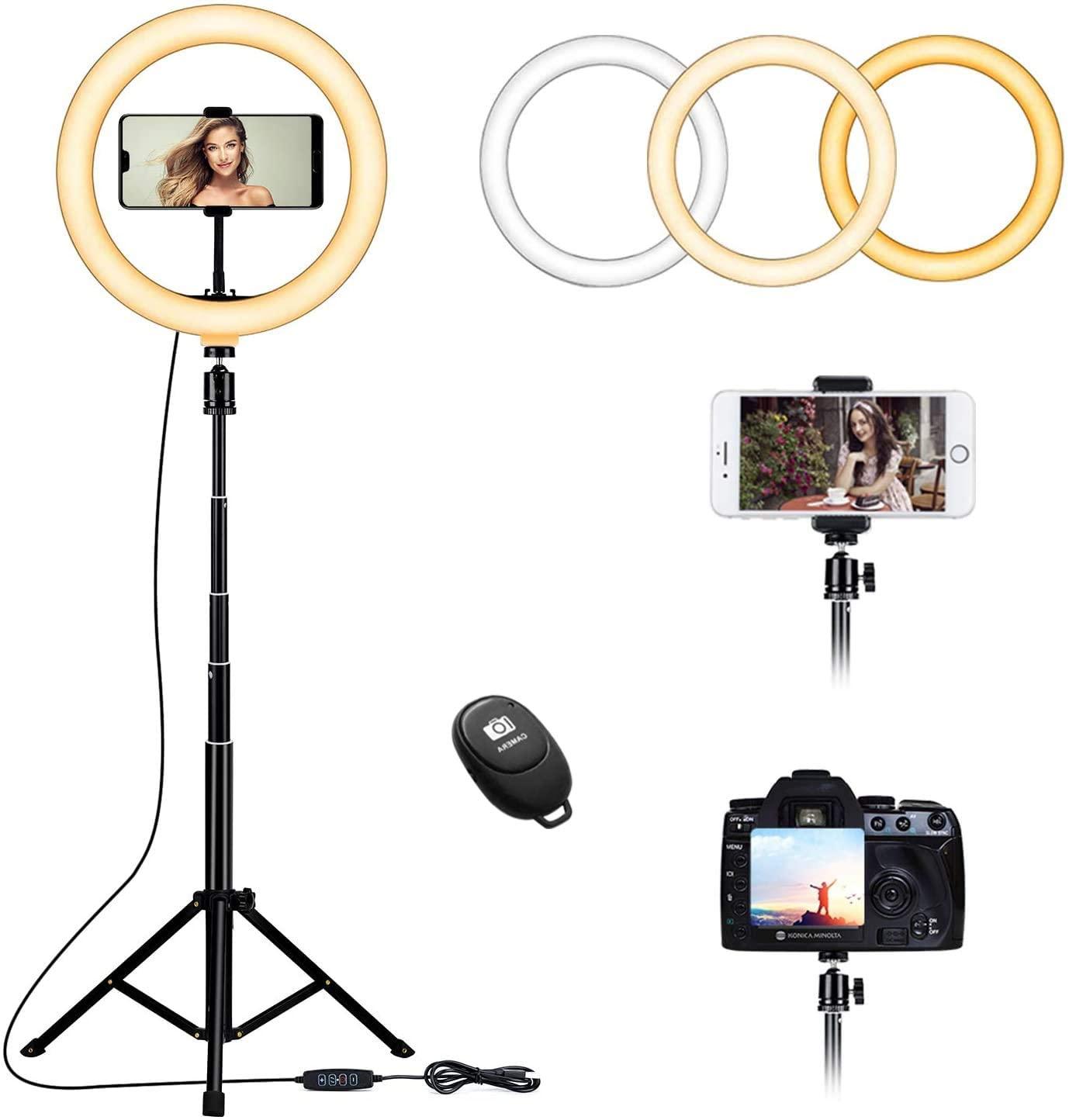 """Anillo de luz para selfie de 10.2"""" con soporte de trípode y soporte para teléfono celular para transmisión en directo"""