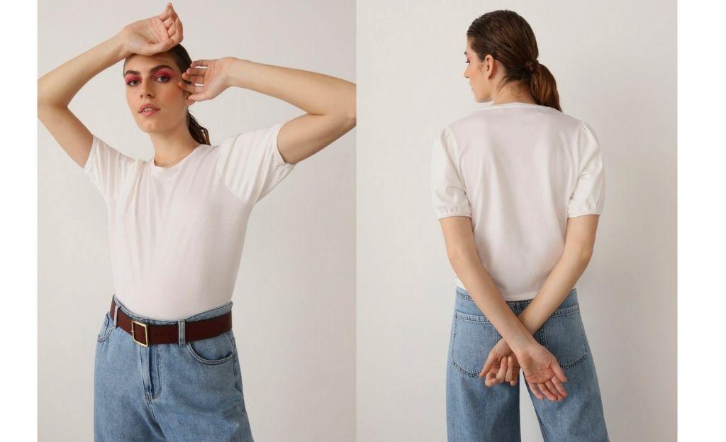 Camiseta con manga corta abullonada