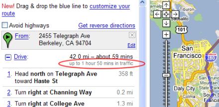 Google Maps mira el tráfico para calcular el tiempo de un recorrido