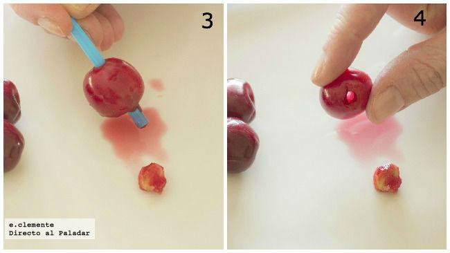 truco casero para deshuesar cerezas