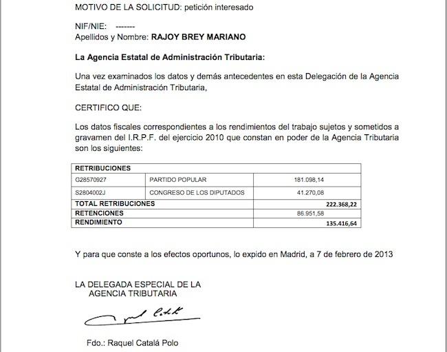 Certificado Ingresos IRPF 2010 - Mariano Rajoy