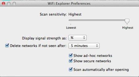 Opciones de configuración de WiFi Explorer