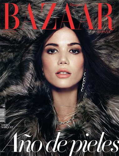 Sheila Márquez apuesta por un look muy natural en la portada de Harper's Bazaar enero 2011