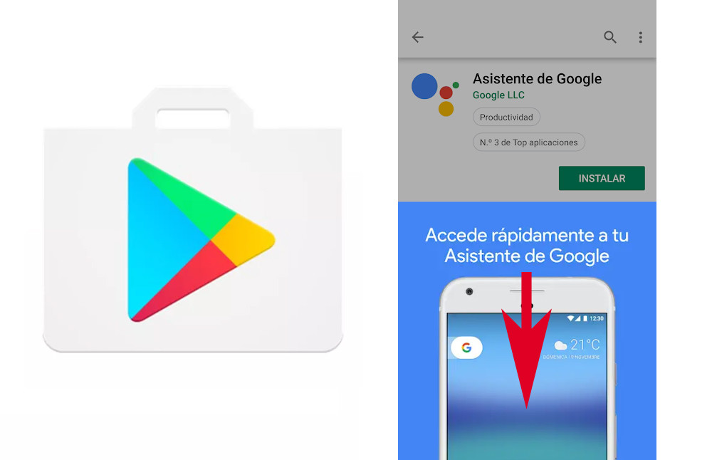 this is the new gesture that Google Play Store is trying to close the promotional images